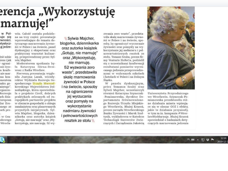 Konferencja 'Wykorzystuję – nie marnuję!' z naszym udziałem – notka prasowa (Wrocław)