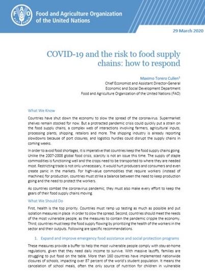FAO o ryzyku pustych półek w sklepach ze względu na COVID-19